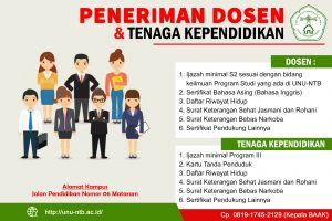 Lowongan Kerja Dosen dan Tenaga Pendidik Universitas Nahdlatul Ulama NTB